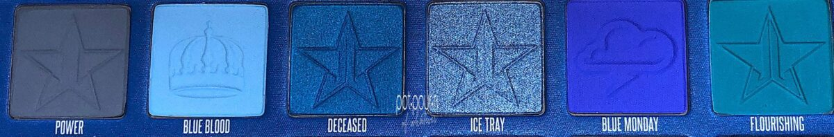 ROW 2 OF THE JEFFREE STAR BLUE BLOODED EYESHADOW PALETTE