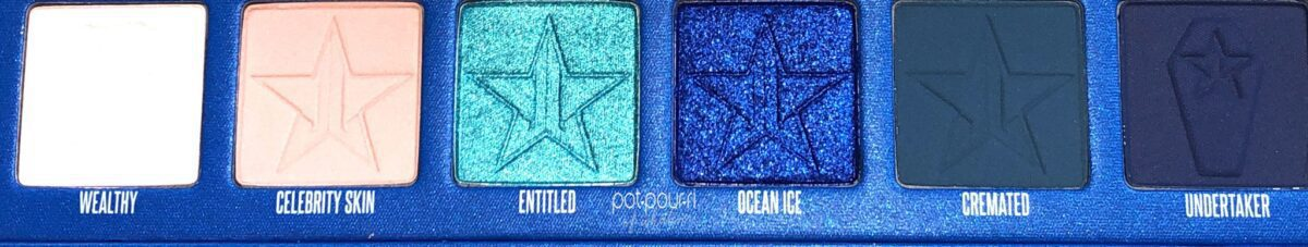 ROW 3 OF THE JEFFREE STAR BLUE BLOODED EYESHADOW PALETTE