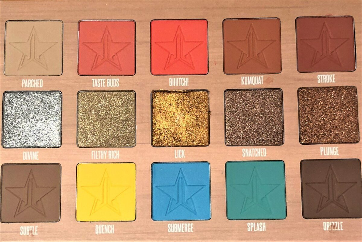 THREE ROWS OF FIVE SHADOWS IN JEFFREE STAR EYESHADOW PALETTE