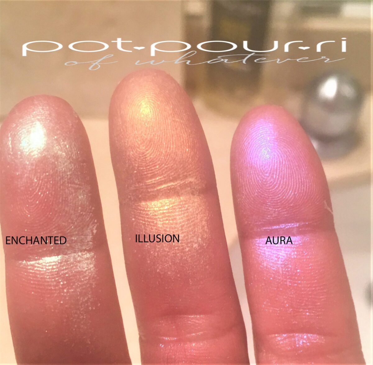 KEVYN AUCOIN PRISMAGIC HIGHLIGHTER TRIO FINGER SWATCHES