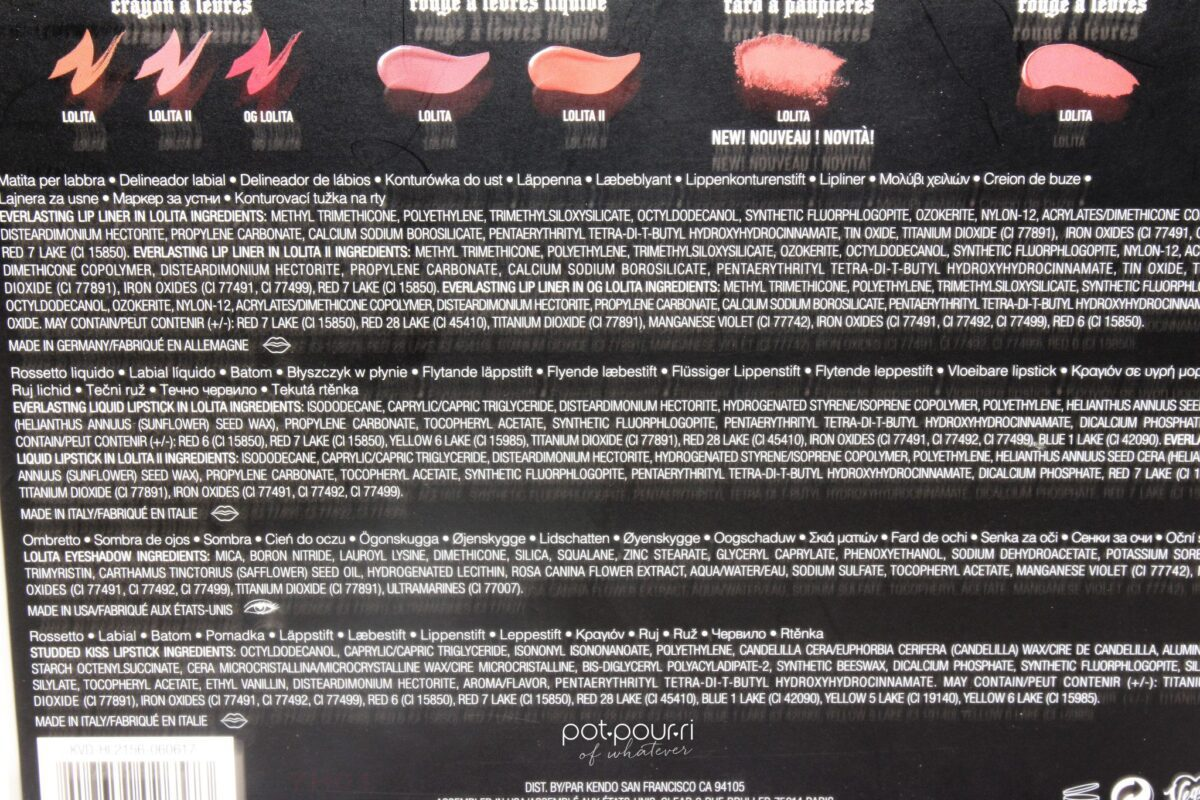 Lolita Obsession Kat Von D Limited Edition Collection ingredients