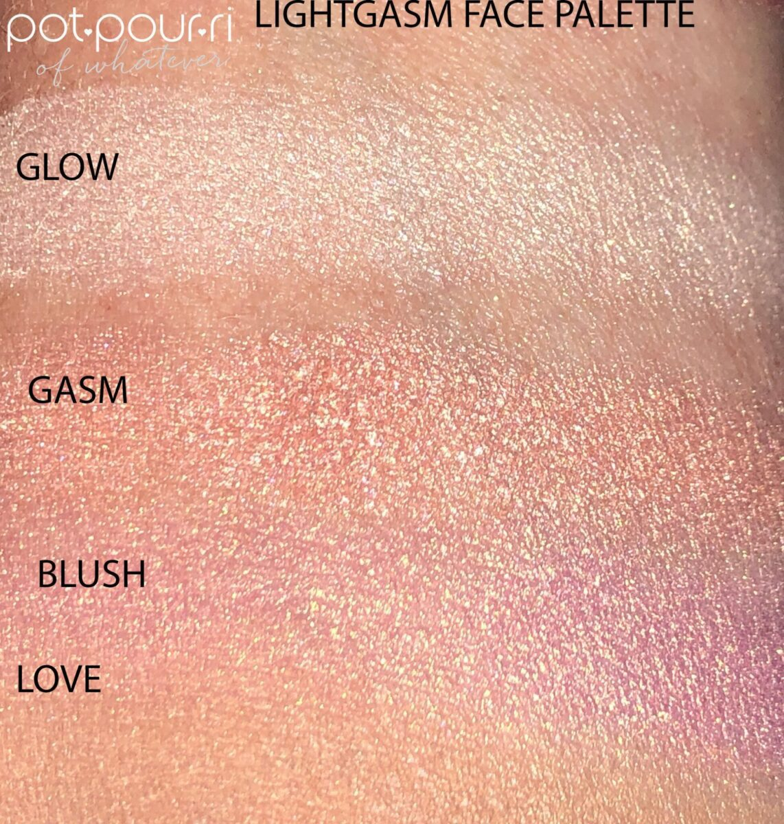 SWATCHES OF THE LIGHTGASM PALETTE