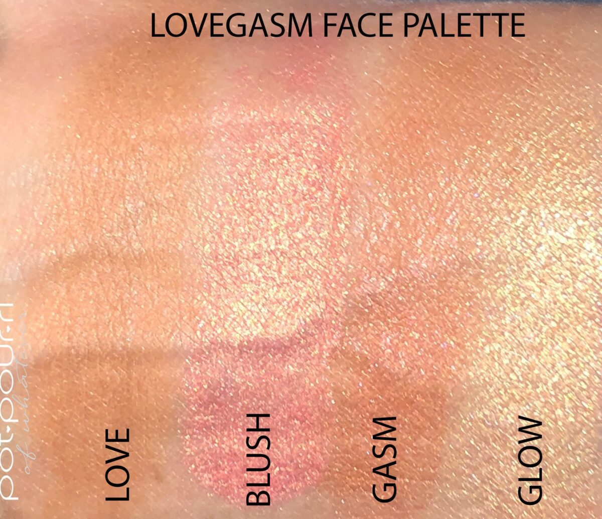 SWATCHES OF THE LOVEGASM PALETTE