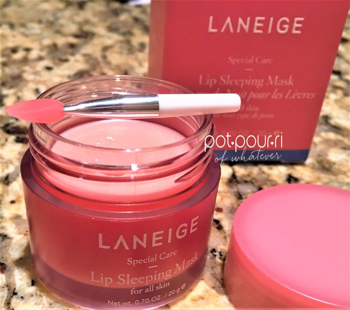 Laneige Lip Sleeping Mask Packaging box, jar and applicator wand