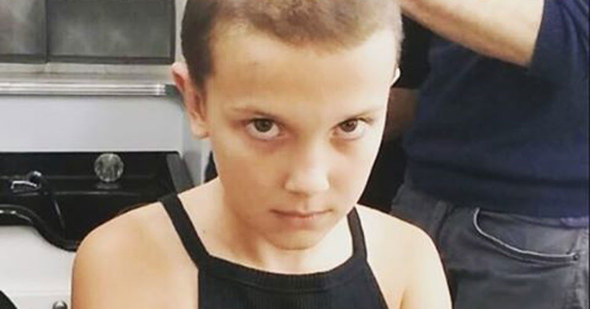 Millie Bobby Brown with Eleven's haircut