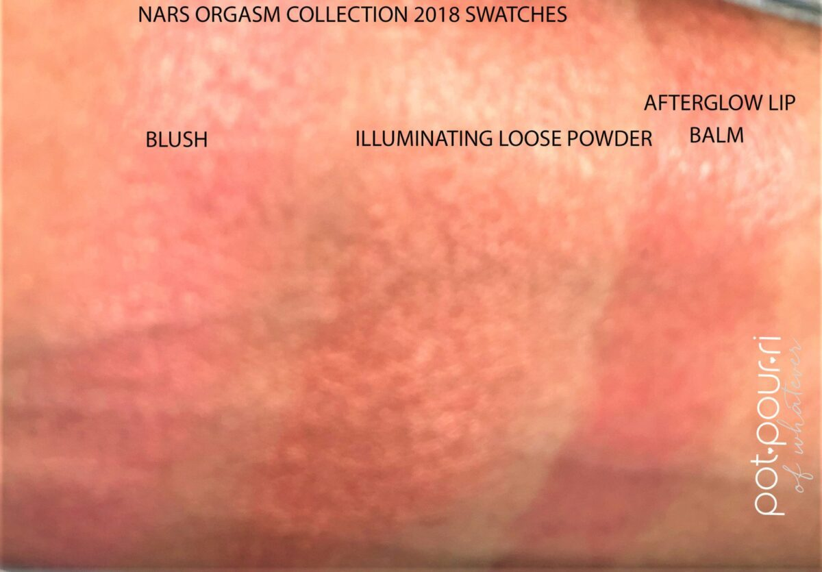 ORGASM SWATCHES BLUSH, LOOSE POWDER, LIP ALM
