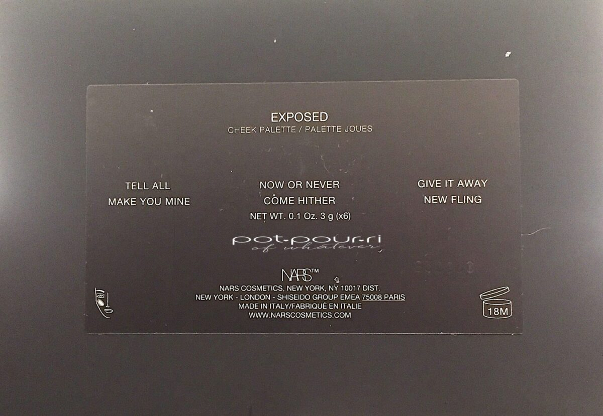 BACK OF THE NARS EXPOSED CHEEK PALETTE COMPACT