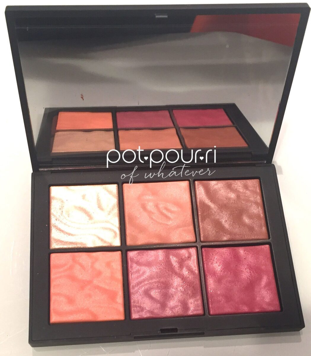 NARS EXPOSED CHEEK PALETTE LOCK AND CLASP CLOSURE, MIRROR AND SIX SHADES