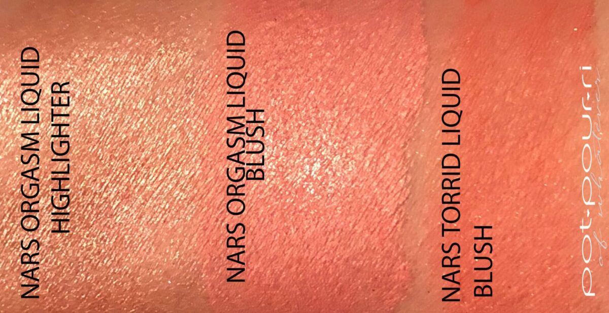 SWATCHES NARS ORGASM LIQUID HIGHLIGHTER, LIQUID BLUSH IN ORGASM AND TORRID