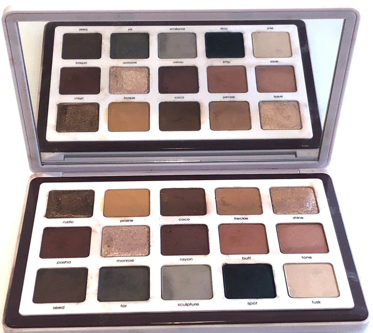A FULL SIZED MIRROR AND THE FIFTEEN NEW SHADES IN THE NATASHA DENONA NEUTRALS BIBA PALETTE