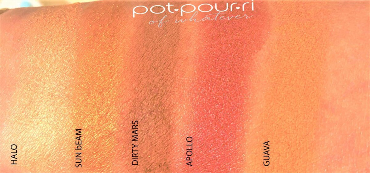 SWATCHES OF MINI SUNSET PALETTE