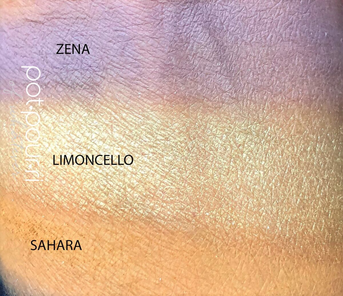 SWATCHES OF LOOK FIVE, SAHARA, LIMONCELLO AND ZENA