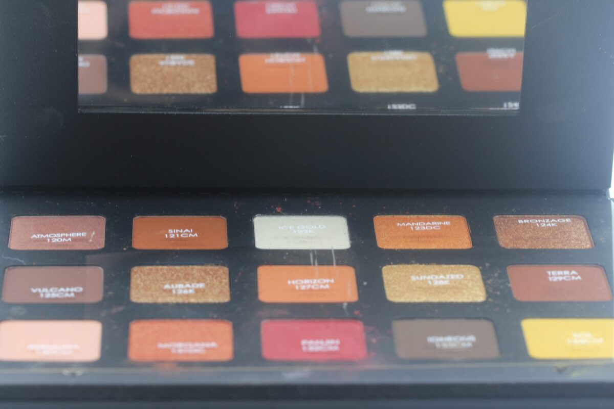 Natasha-Denona-Sunset-Palette-mirror, plastic-cover-with-product-names-over-colorpalette