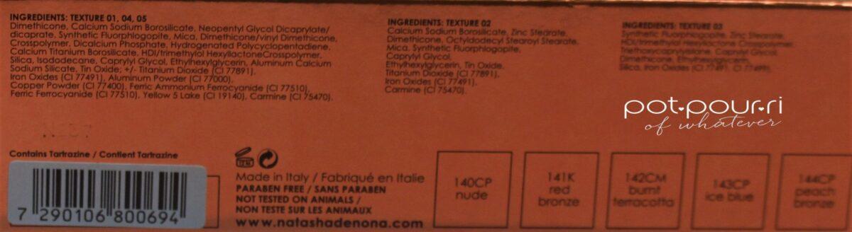 Natasha Denona' Eye Shadow Palettes ingredients