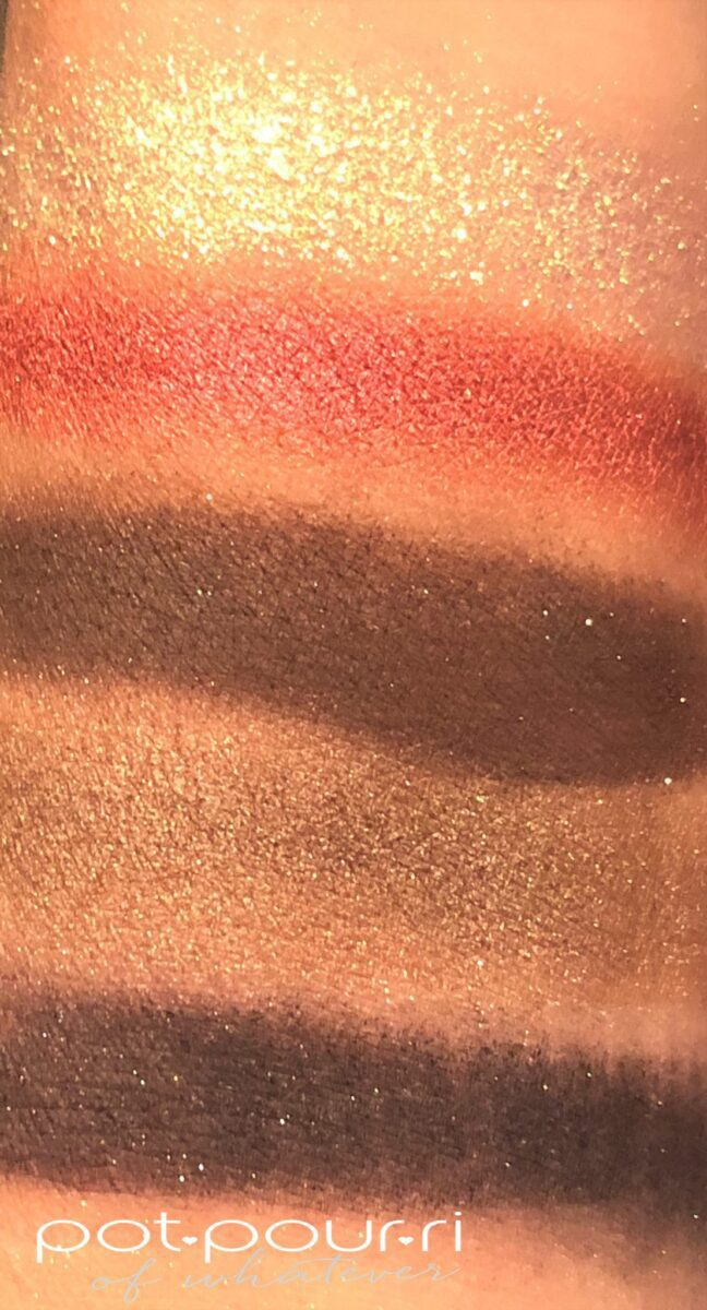 SWATCHES BOTTOM TO TOP XTREME AUBERGINE, GILTY PLEASURE, DISOBEDIENT, BLITZ FLAME, ASTRAL LUNA GOLD