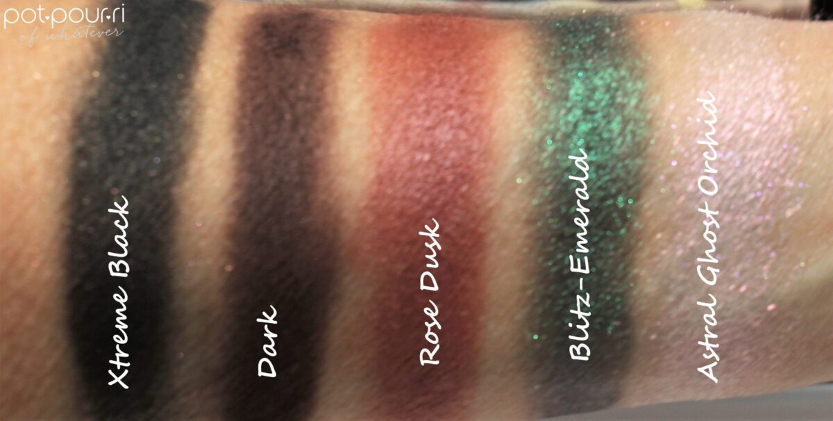 Pat-McGrath-bottom-row-across-swatches-xtreme-black-dark-rose-dusk-blitz-emerald--astral-ghost-orchid