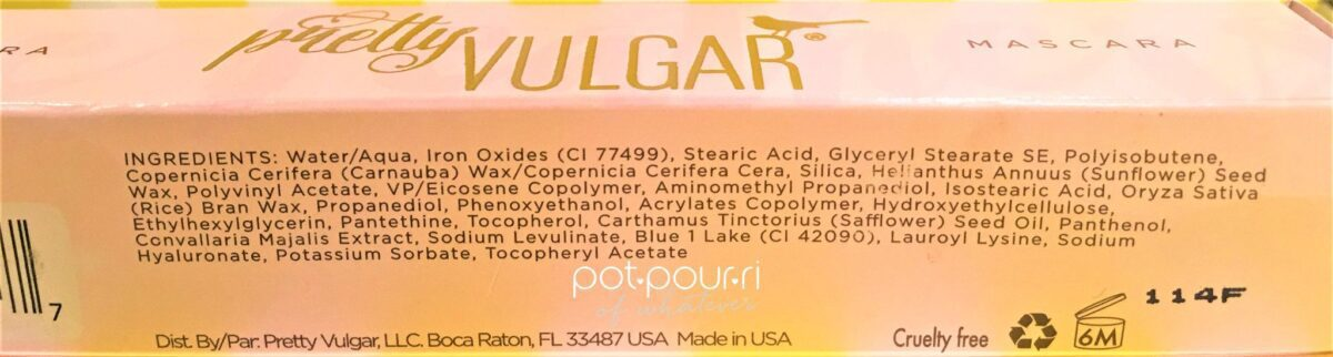 Pretty Vulgar Feathers Mascara Ingredients