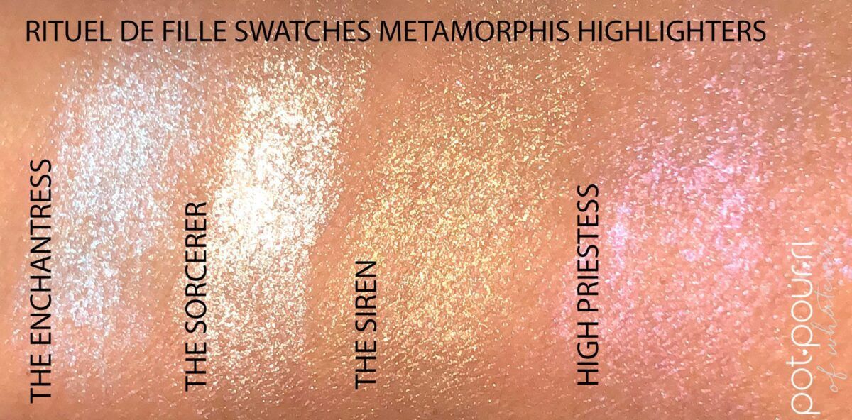SWATCHES OF RITUEL DE FILLE METAMORPHIC HIGHLIGHTERS ON LIGHT SKIN