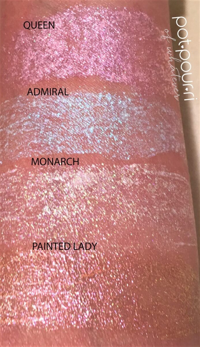 STILA GLITTER AND GLOW HIGHLIGHTERS SWATCHES