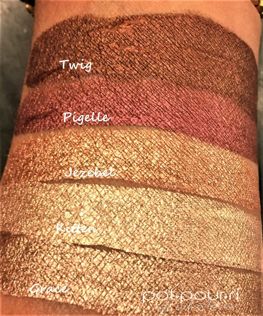Swatches of Twig, Pigelle, Jezebel, Kitten and Grace Stila Shimmer and Glow Liquid Eyeshadows