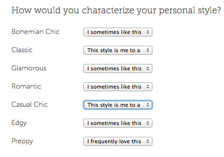 Stitch Fix Style profiling