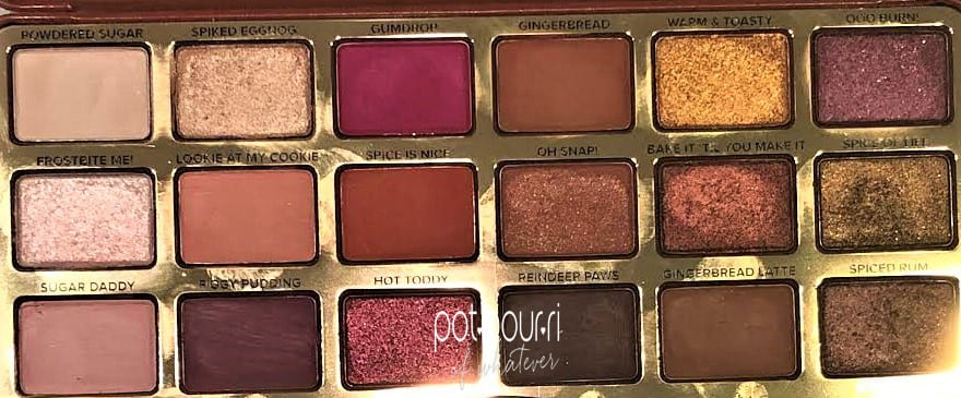 TOO FACED GINGERBREAD SPICE EYE SHADOW PALETTE WITH SHADE NAMES