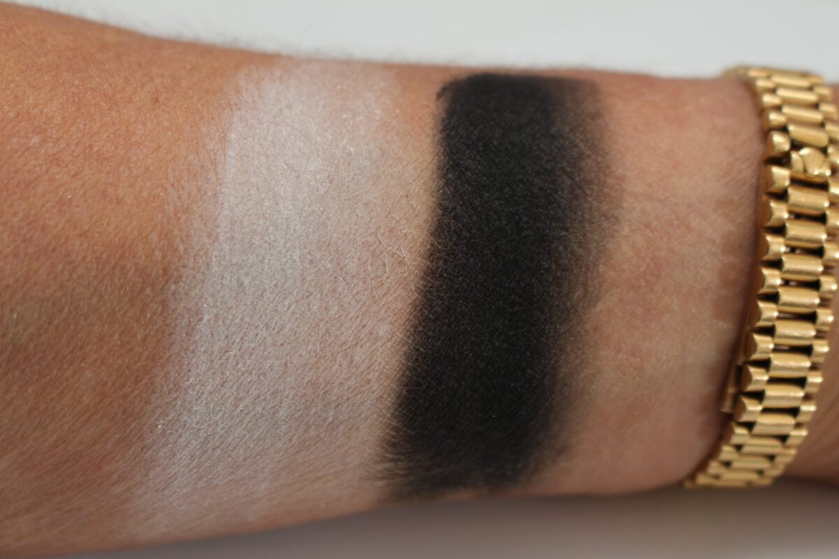 Two face brightening base swatch is white matte, and intensifying base swatched is black matte