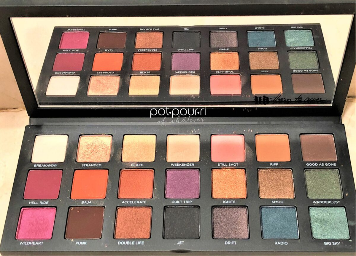 NICE BIG MIRROR AND 21 SHADES IN BORN TO RUN EYE SHADOW PALETTE