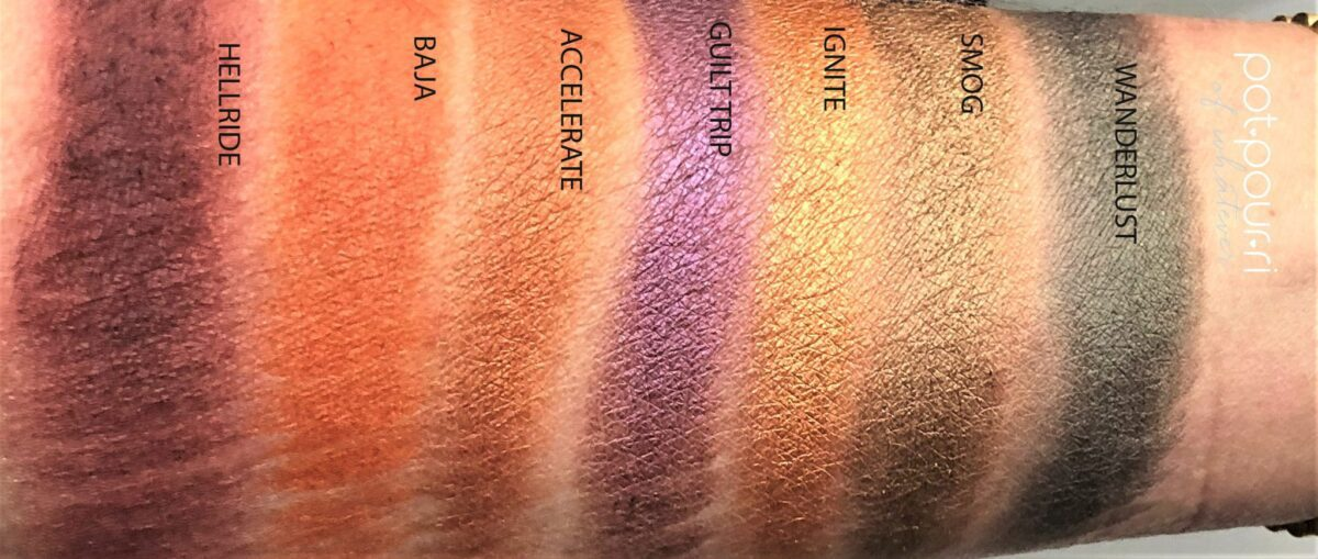 SWATCHES OF ROW TWO IN BORN TO RUN EYE SHADOW PALETTE