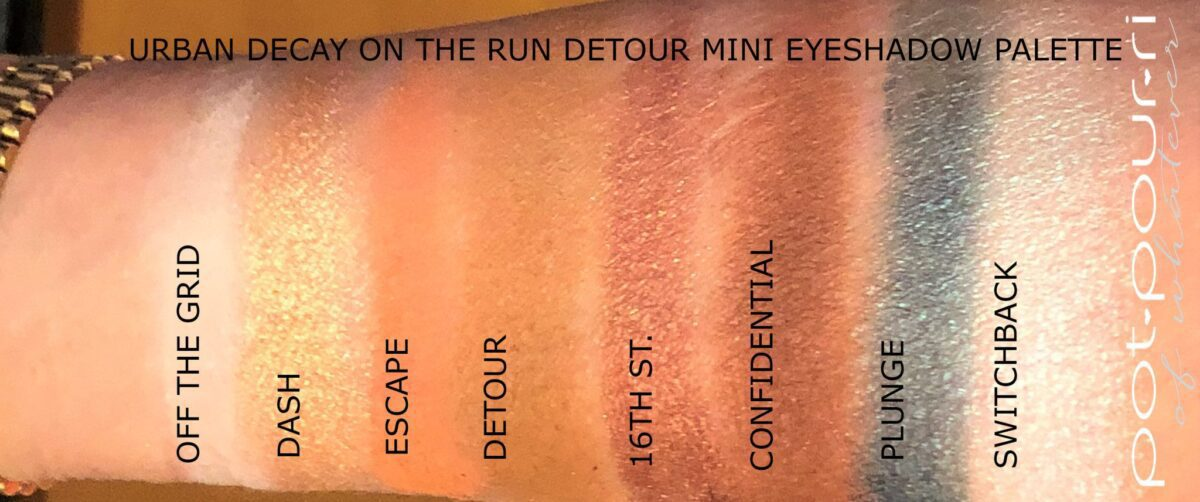 SWATCHES FOR DETOUR MINI ON THE RUN PALETTE