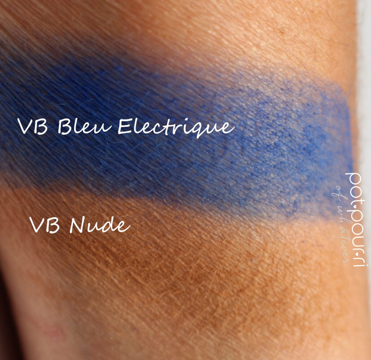 swatches of the bright blue and camel shades