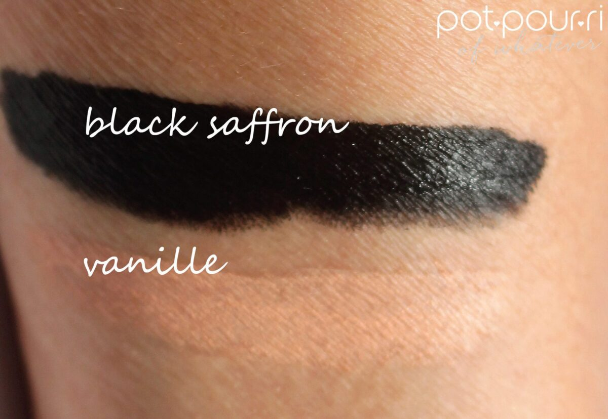Black Saffron is a sooty black, Vanille is a light creamy nude
