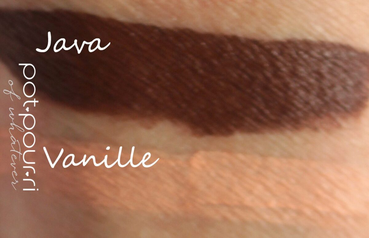 Java swatched is coffee brown, and Vanille is a light cream shade