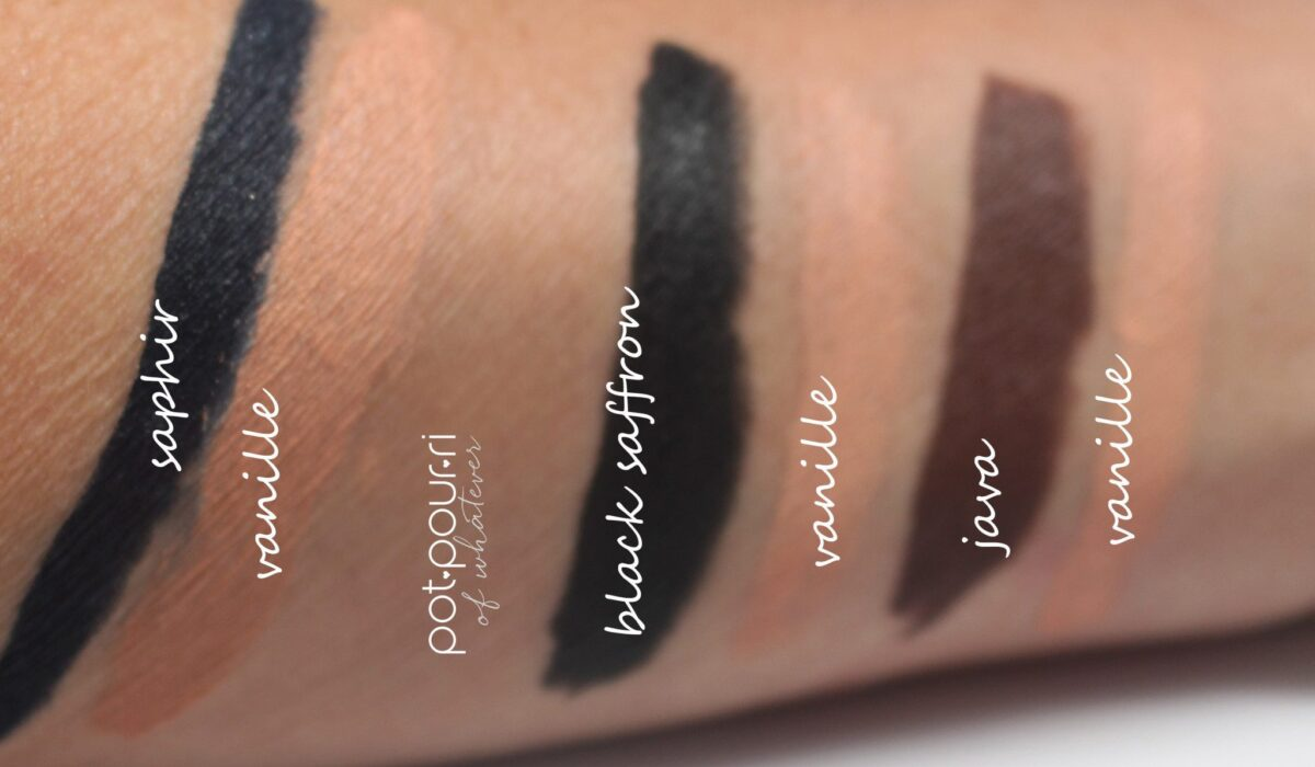 swatches of the three eye kajal shades