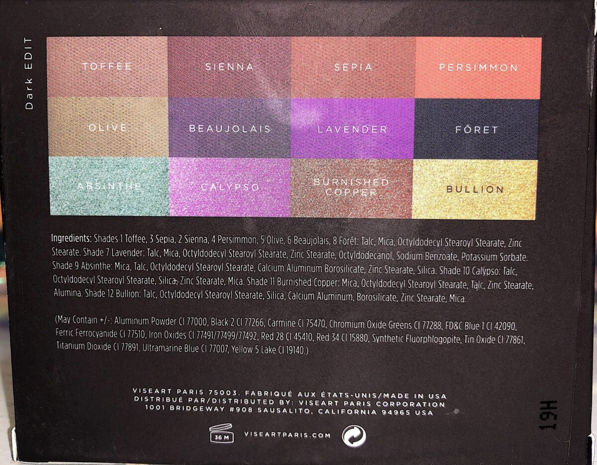 THE DARK EDIT EYESHADOW PALETTE OUTER BOX HAS THE NAMES OF THE SHADES ON IT