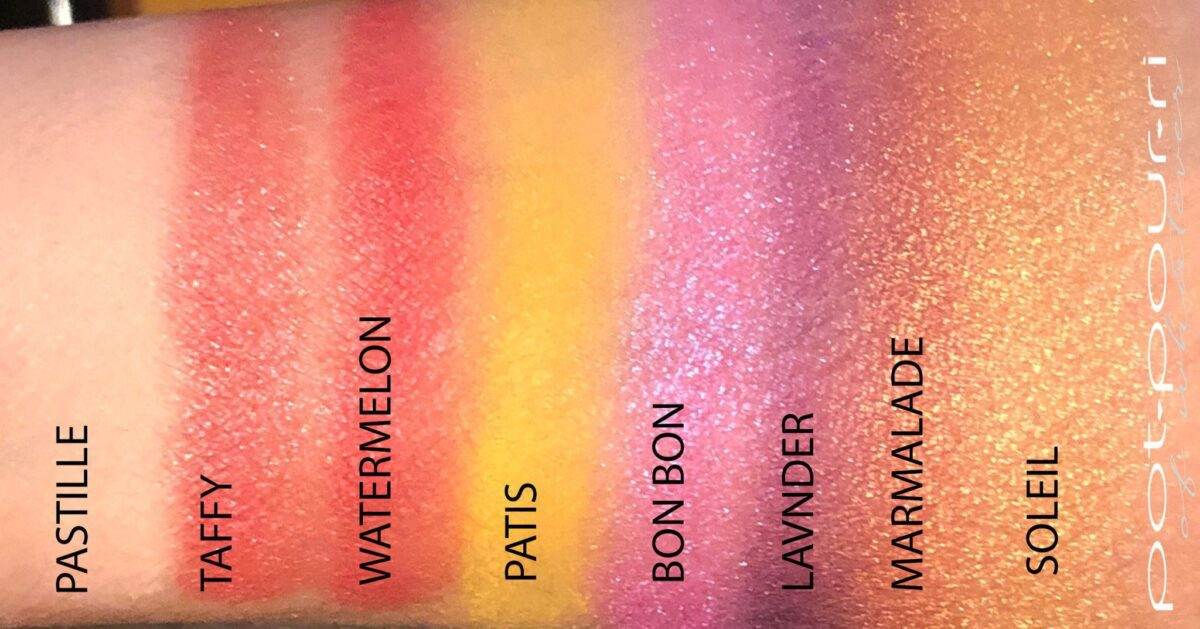 SWATCHES FROM THE VISEART PETIT PRO #5 SOLEIL PALETTE