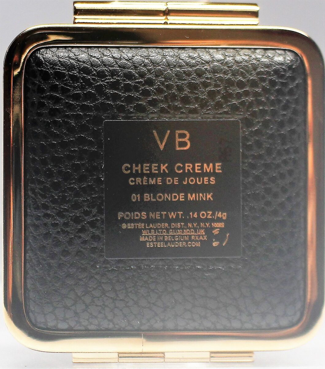 the back of the compact has the initials VB and the color of the creme blush - blonde mink