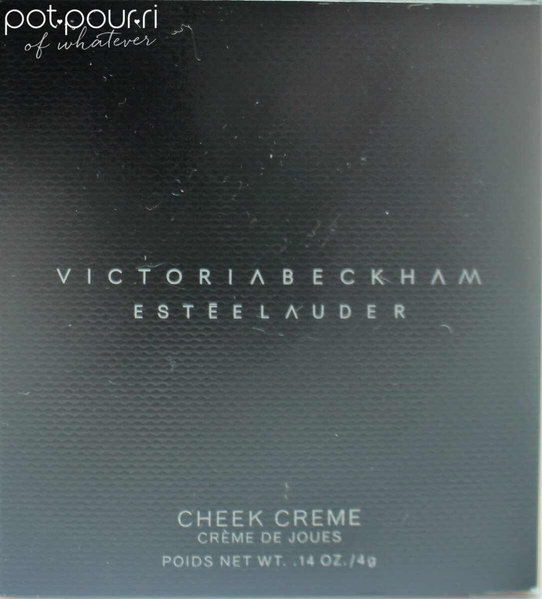 cheek creme is packaged  a sophisticated black box with white block printing