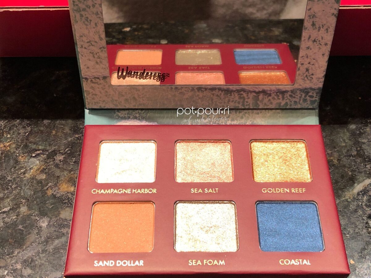 THE SEASCAPE EYESHADOW PALETTE INCLUDES A MIRROR AND SIX EYESHADOWS