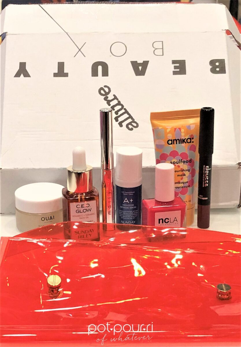 JANUARY EDITION ALLURE BEAUTY BOX POUCH WITH SNAPS AND PRODUCTS