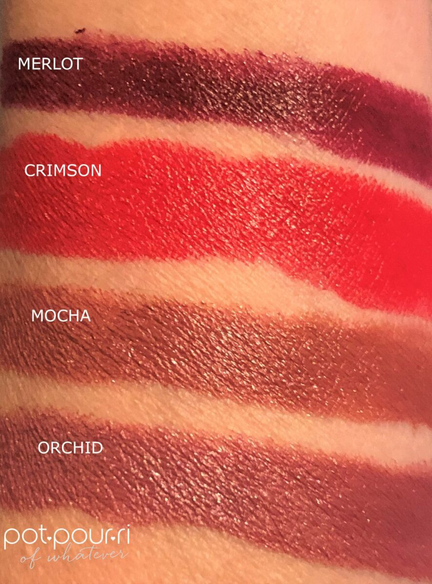 BECCA ULTIMATE LIPSTICK LOVE SWATCHES