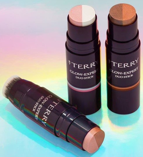 BY TERY GLOW EXPERT DUO STICK LEFT BEACH GLOW, MIDDLE CREAM MELBA, RIGHT COPPER COFFEE