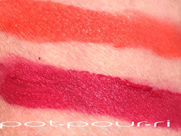 TOP SWATCH IS ELECTRIC BLOSSOM BOTTOM SWATCH IS VOLUPE