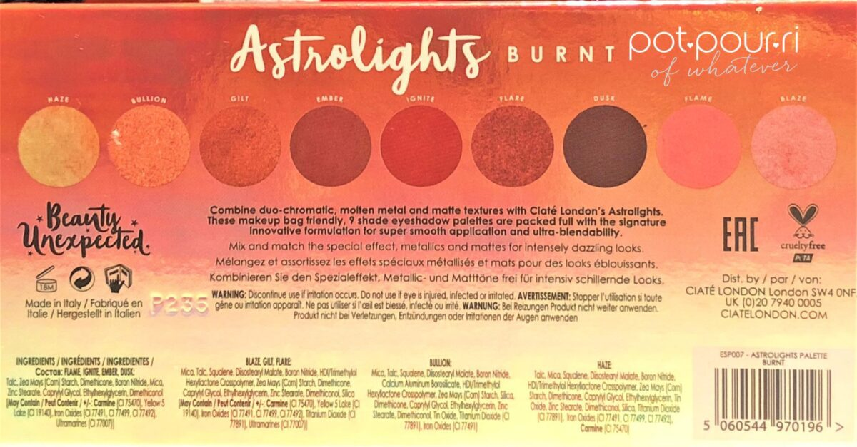 INGREDIENTS FOR CIATE ASTROLIGHTS BURNT PALETTE