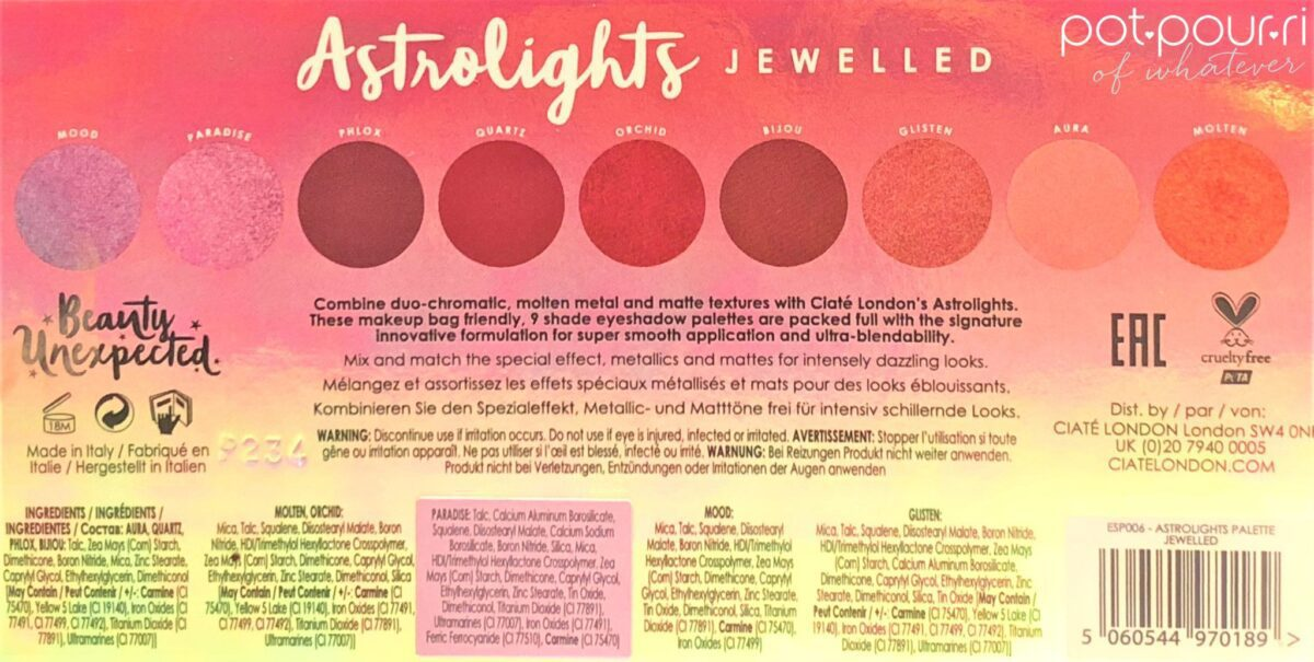 INGREDIENTS FOR CIATE ASTROLIGHTS JEWELLED PALETTE