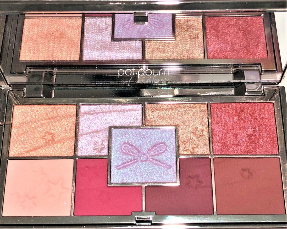 JEWELLED PALETTE HYPER METALLIC SHADES ON TOP ROW, MOOD DUO-CHROME SHADE IN THE MIDDLE OF THE PALETTE