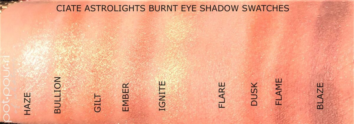 SWATCHES FOR BURNT EYE SHADOW PALETTE