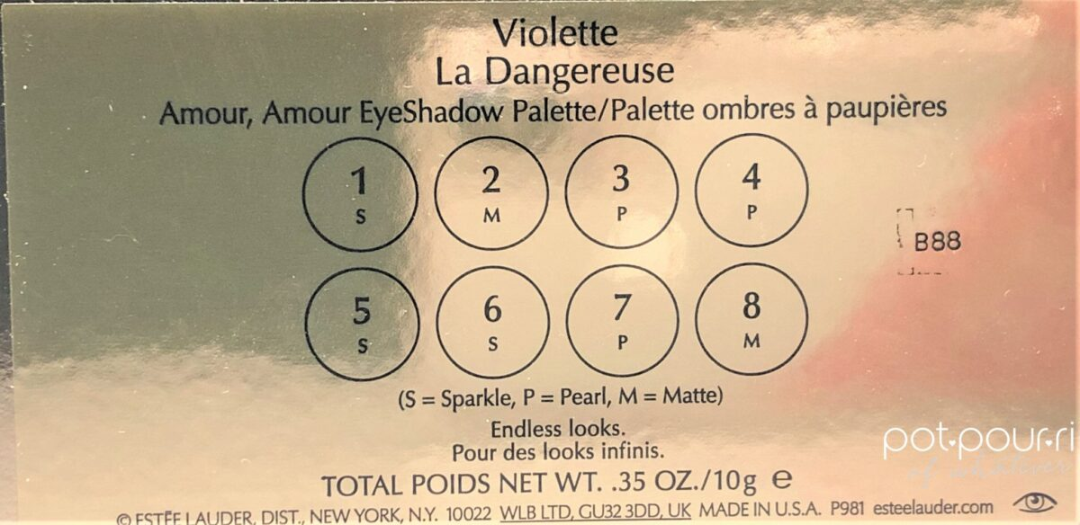 back of eye shadow palette Amour Amour