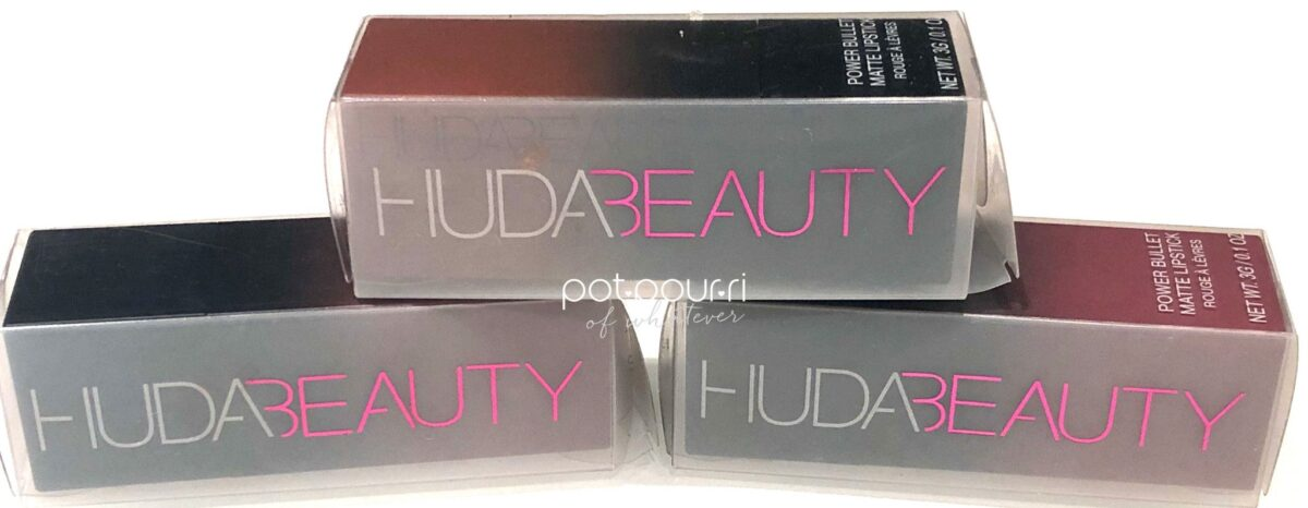 PAYDAY, INTERVIEW AND POOL PARTY PACKAGING FOR HUDA BEAUTY POWER BULLET MATTE LIPSTICK