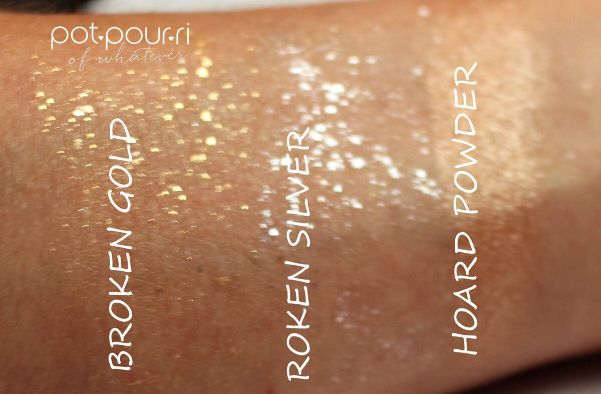 swatches of the eye shadows